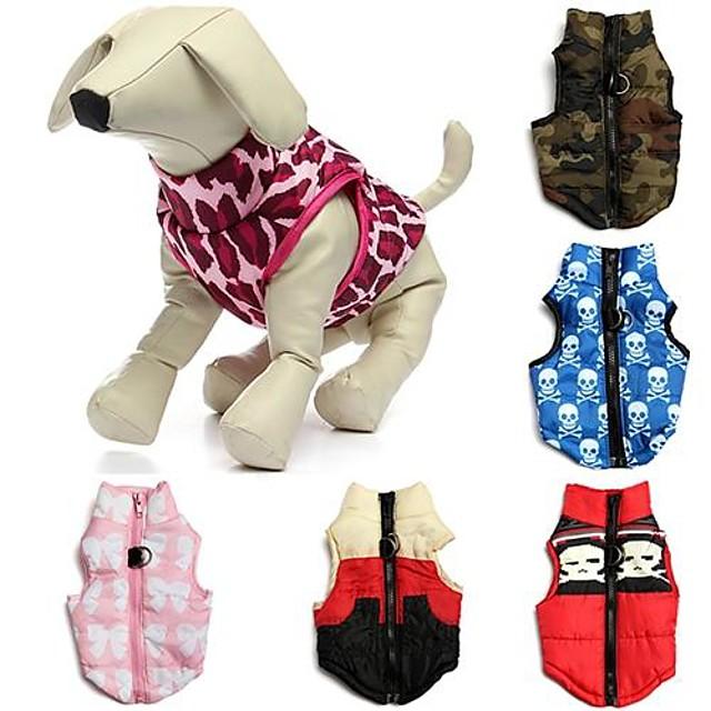Pisici Câine Haine Γιλέκο Nod Papion camuflaj Casul / Zilnic În aer liber Iarnă Îmbrăcăminte Câini Respirabil Roșu / alb Rosu Albastru Costume Bumbac XS S M L