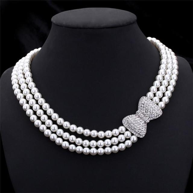 Pentru femei Perle Coliere Choker Lănțișoare Multistratificat Χάντρες Nod Funda femei Elegant de Mireasă Multistratificat Perle Imitație de Perle Ștras Coliere Bijuterii Pentru Nuntă Petrecere
