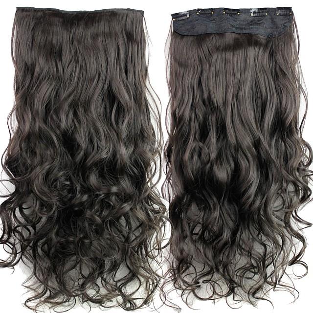 Buclat Păr Sintetic 24 inch Extensie de păr Agață În / Pe Negru Pentru femei Zilnic