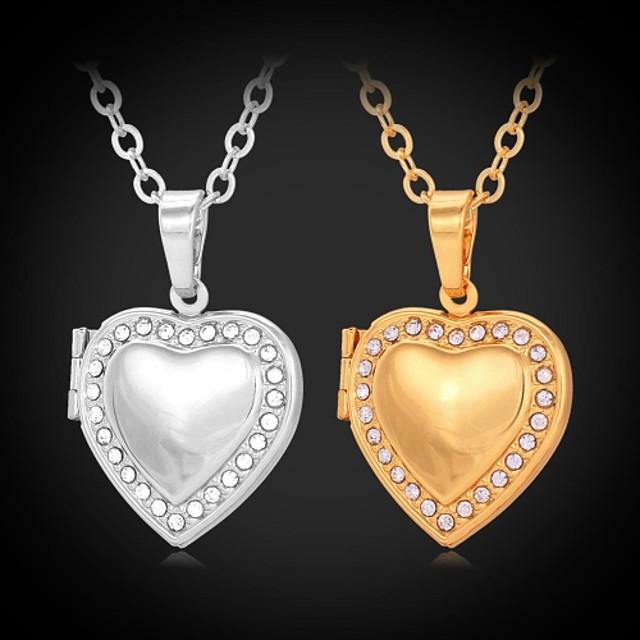 Pentru femei Diamant sintetic Coliere Choker Coliere cu Pandativ Gravat Inimă Iubire femei Modă Ștras Placat cu platină Placat Auriu Auriu Argintiu Coliere Bijuterii Pentru Nuntă Petrecere Zilnic