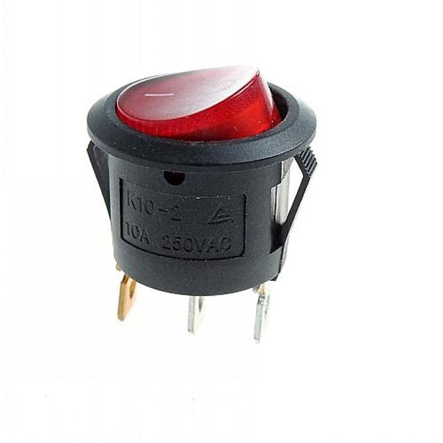 Module 3-pini comutator de rock DIY w / indicator roșu eșuat - negru (10pcs)