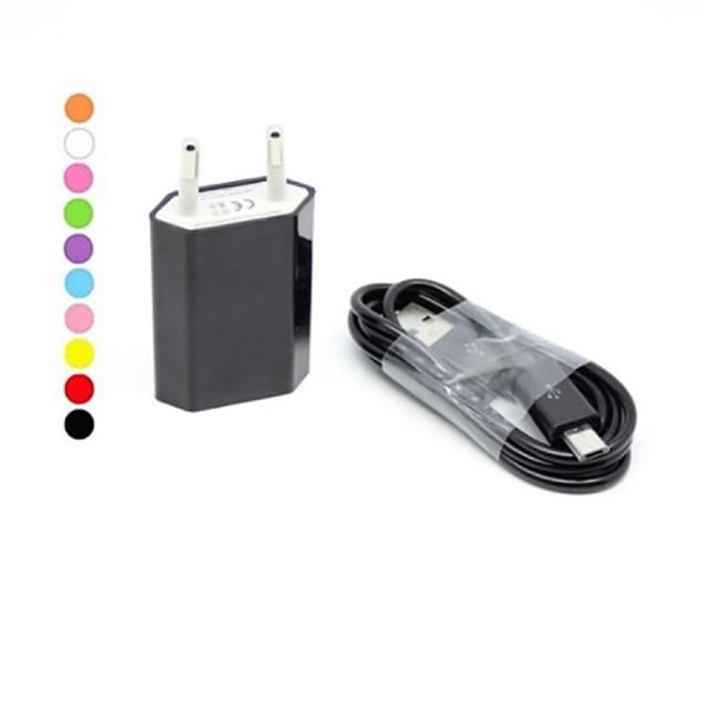 מטען לבית / מטען נייד מטען USB EU מחבר ערכת טעינה 1חיבורUSB ל