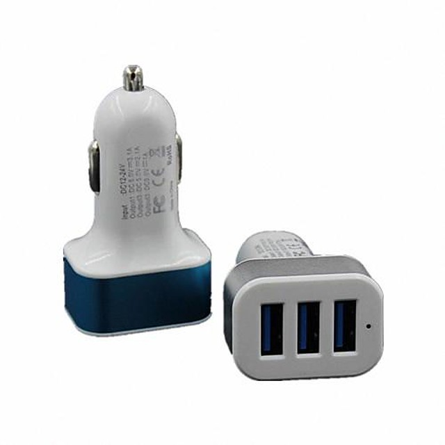 Cwxuan Caricabatterie fisso / Caricabatterie portatile Caricabatteria USB Multi-porte 3 porte USB 2.1 A / 1 A DC 12V-24V per