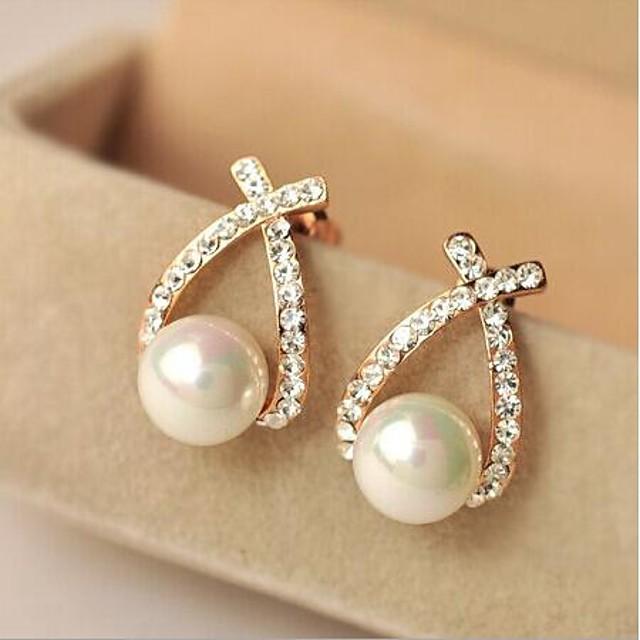 Pentru femei Cercei Stud Σταυρός Imitație de Perle Ștras cercei Bijuterii Pentru Zilnic