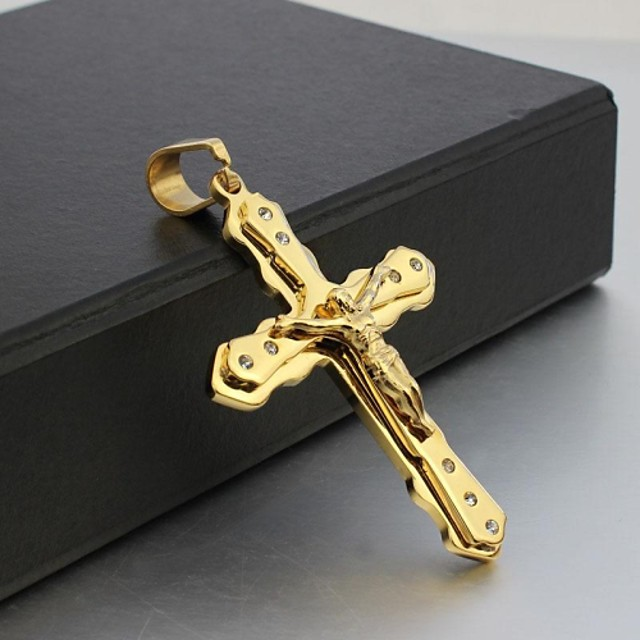 Bărbați Coliere cu Pandativ Σταυρός Crucifix femei Hristos Ștras Oțel titan Placat Auriu Auriu Coliere Bijuterii Pentru Cadouri de Crăciun Nuntă Petrecere Zilnic Casual