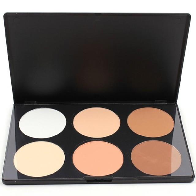 6 culori Pudre Cremă Iluminatoare & Bronz Marker Uscat Anticearcăn Faţă Machiaj Cosmetic