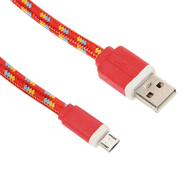 Micro-USB 2.0 / USB 2.0 Cabo <1m / 3ft Entrançado Náilon Adaptador de cabo USB Para