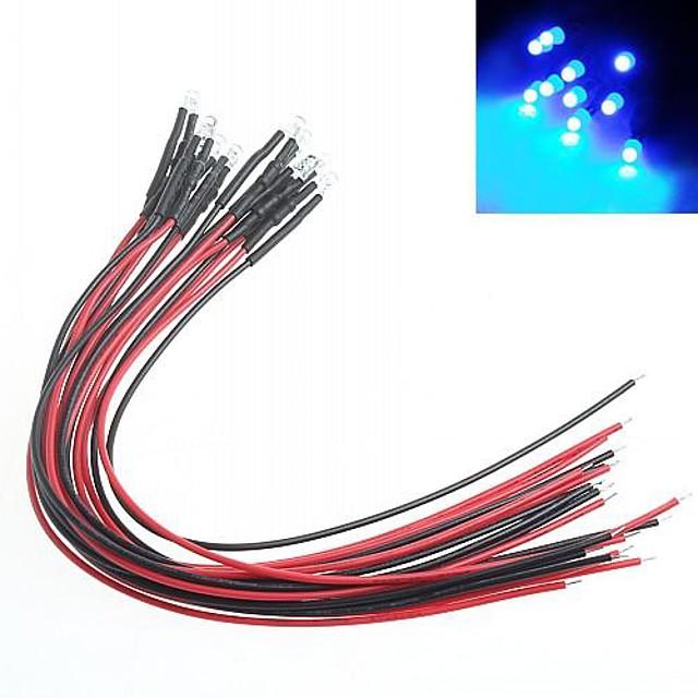 ตัวบ่งชี้การปรับเปลี่ยนรถ DIY 3mm แสงสีแดงนำหลอดไฟหลากสี (10 ชิ้น)
