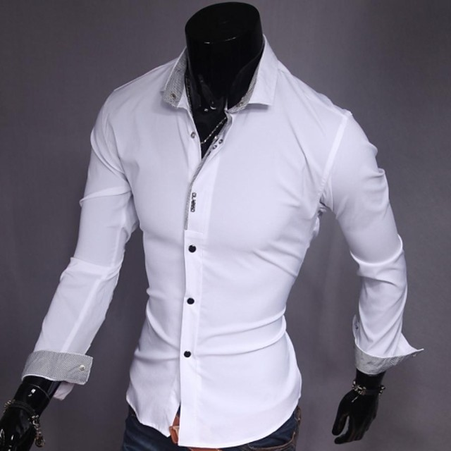 Men's Daily Shirt Solid Colored Long Sleeve Slim Tops Business White Black Pink / Work