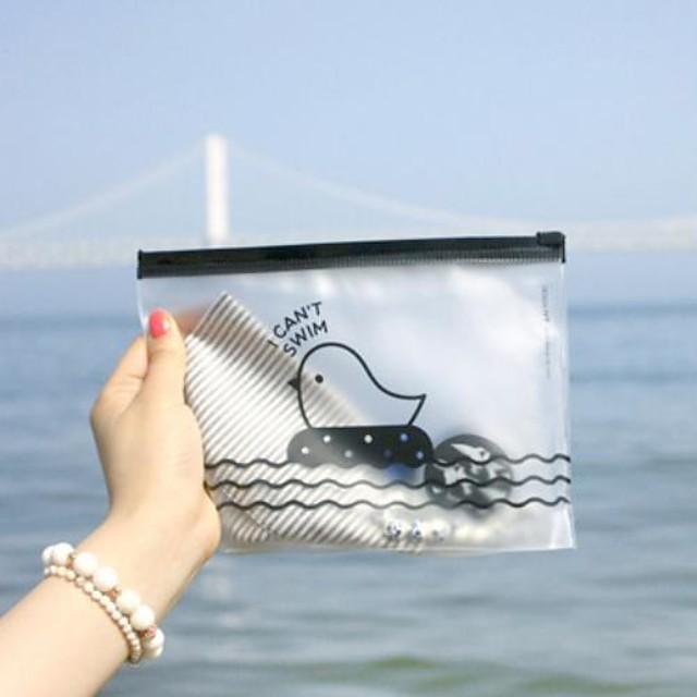 Geanta model pui zip plastic transparent (culoare aleatorii)