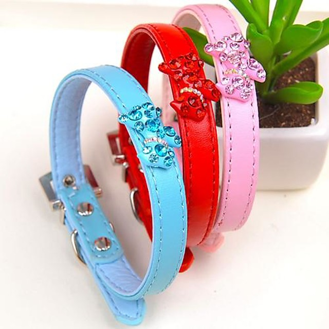 Câine Gulere Ajustabile / Retractabil PU piele Rosu Albastru Roz