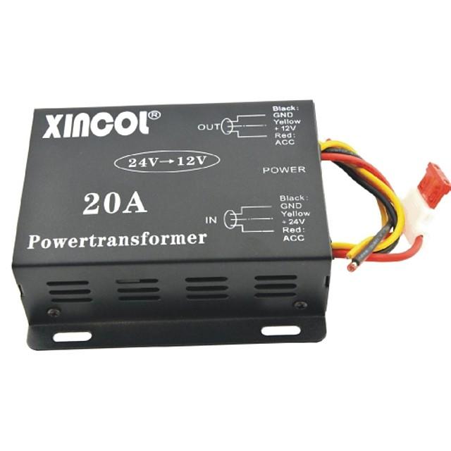 xincol® vehicul dc 24v auto la 12V 20a transformator de alimentare convertor-negru