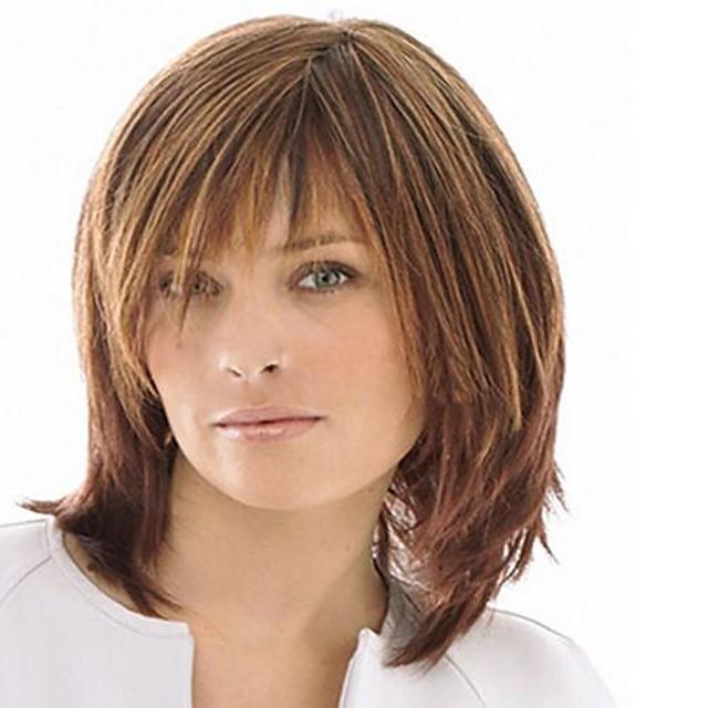 Synteettiset peruukit Suora Otsatukalla Peruukki Keskikokoinen Vaalean ruskea Synteettiset hiukset Naisten Korkealaatuinen Ruskea