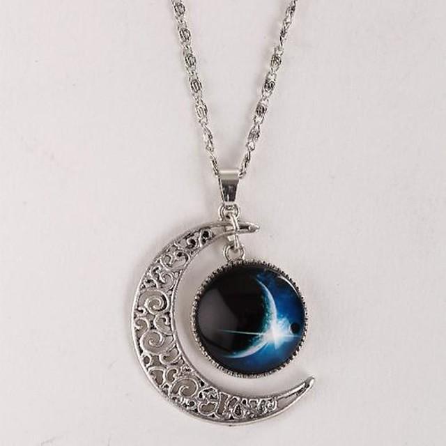 Pentru femei Coliere cu Pandativ Galaxie Semilună Te iubesc până la lună și înapoi Ieftin Magie Stilat Simplu Stil Atârnat Aliaj Argintiu Coliere Bijuterii Pentru Cadou Casual Zilnic Concediu