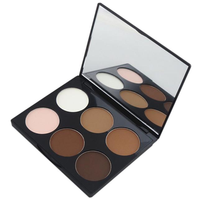 6 culori Pudre Praf Presat Cremă Iluminatoare & Bronz Uscat / Mat Faţă Machiaj Cosmetic