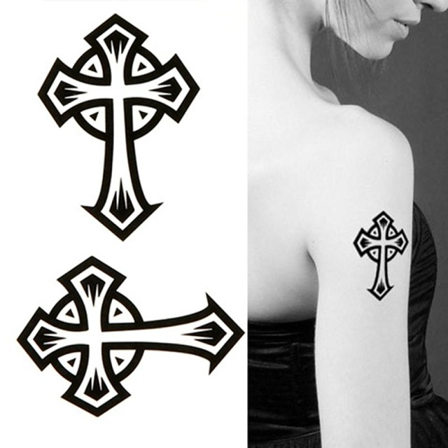 Tatuointitarrat Toteemisarja - Paperi - Non Toxic/Kuvio/Alaselkä/Waterproof - God Bless the Cross - 6*10.5cm (2.36*4.13in) - Musta - 1 pc -