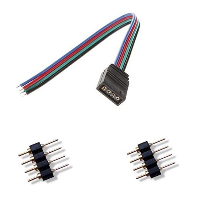4 pini femal colorat conector lumini LED + 2 x 4 pini conector tată pentru RGB 5050/3528 a condus lumina benzi conectare