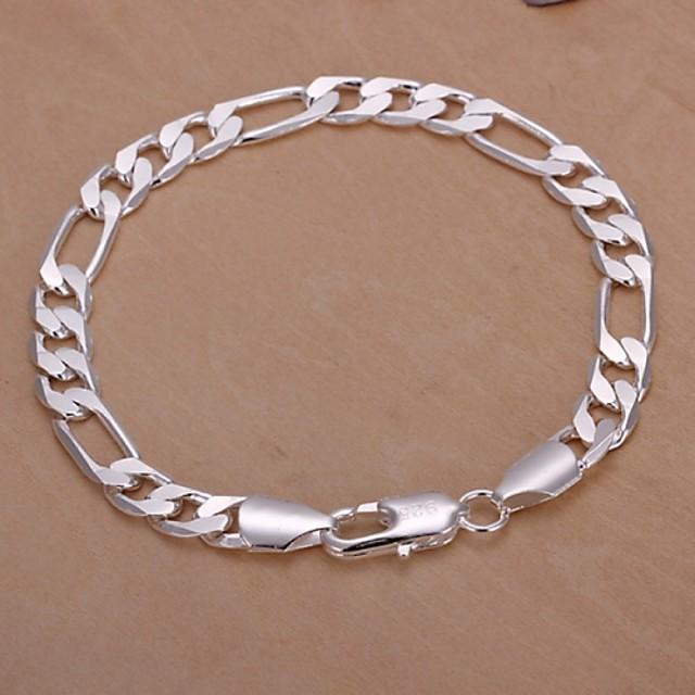 Chaînes Bracelets Homme Plaqué argent dames Bracelet Bijoux Argent pour Regalos de Navidad Mariage Soirée Décontracté Quotidien