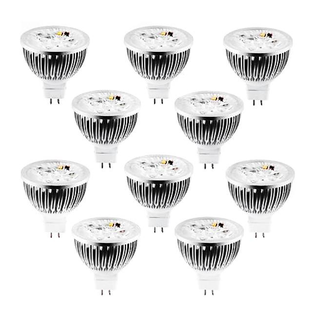 10pcs 4 W 320 lm MR16 Spot LED 4 Perles LED LED Haute Puissance Intensité Réglable Blanc Chaud / Blanc Froid / Blanc Naturel 12 V / 10 pièces / RoHs