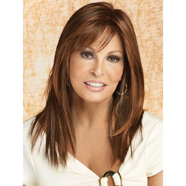 Synteettiset peruukit Suora Suora Otsatukalla Peruukki Pitkä Beige Synteettiset hiukset Naisten Bangsin kanssa Ruskea StrongBeauty