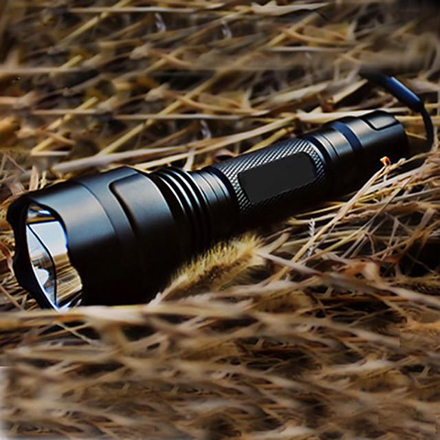 Tactic Reîncărcabil Lanterne LED LED 200 lm 1 emițători Cu Baterie și Încărcător 5 Mod Zbor Camping / Drumeții / Speleologie Tactic Reîncărcabil Priză EU Priză US Negru / Aliaj de Aluminiu