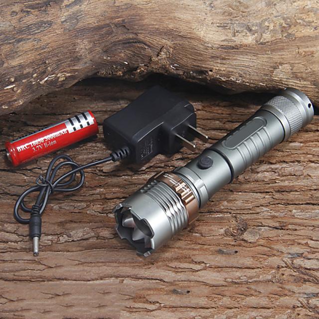 UltraFire ไฟฉาย LED zoomable 1000 lm นาฬิกา LED 1 อิมิเตอร์ 6 โหมดโคมไฟ with Battery and Charger zoomable ปรับจุดโฟกัสได้ แคมป์ปิ้ง / การปีนเขา / เที่ยวถ้ำ ใช้เป็นประจำ การทำงาน EU พลัค AU