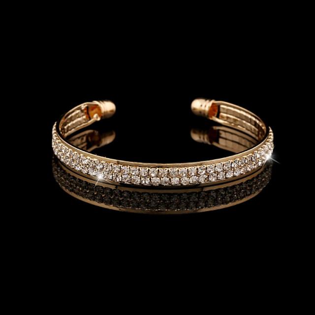 Dames Kristal Armbanden met ketting en sluiting Bangles Tennis Armbanden Dames Europees Modieus Dagelijks 18 Karaats Verguld Armband sieraden Zilver / Gouden Voor Bruiloft Feest Dagelijks Causaal