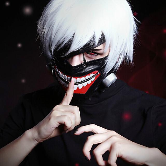 도쿄 구울 켄 Kaneki 코스프레 가발 남성용 12 인치 열 저항 섬유 애니메이션 가발