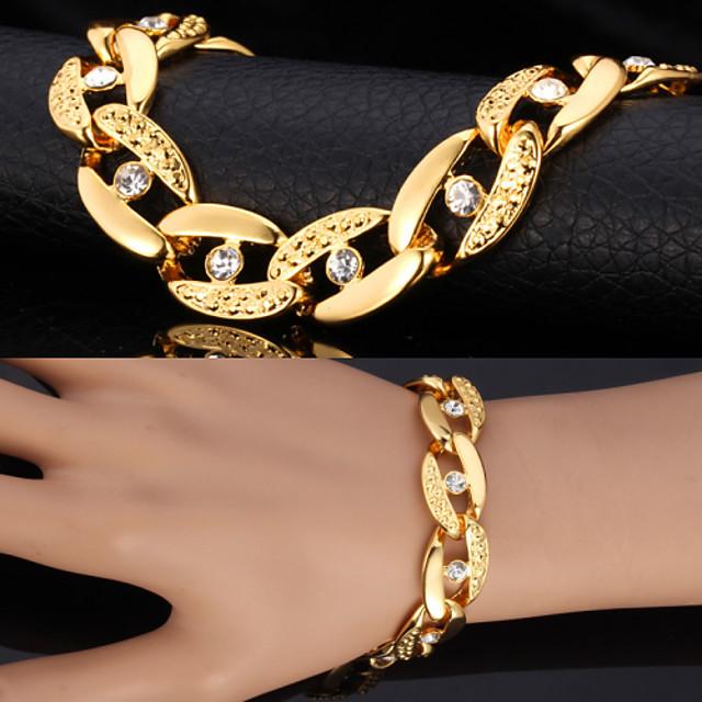 Bărbați Diamant sintetic Brățări cu Lanț & Legături Bratari Vintage Figaro lanț chunky Solitaire Declarație femei Personalizat Modă Dubai Ștras Bijuterii brățară Auriu / Argintiu Pentru Cadouri de