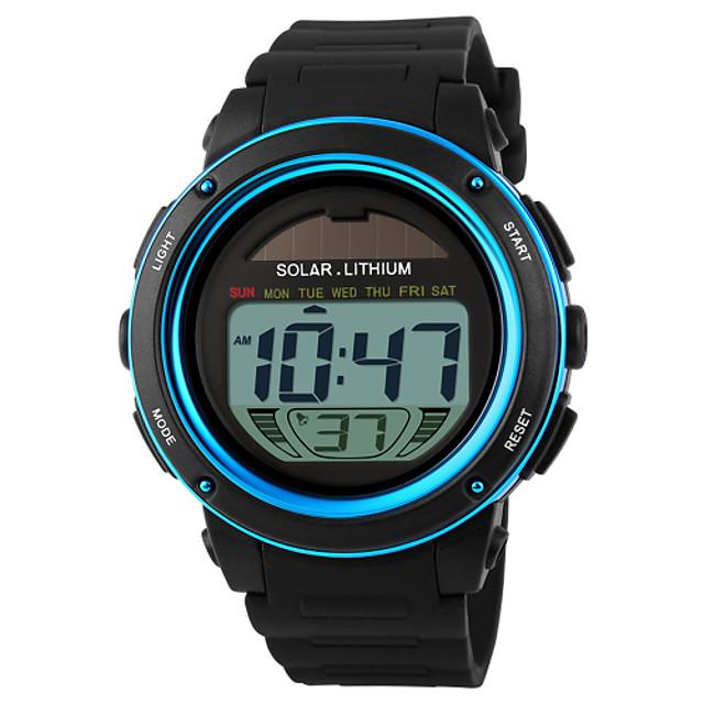SKMEI Муж. Спортивные часы Наручные часы электронные часы Солнечная энергия Цифровой Защита от влаги Pезина Черный Цифровой - Золотой Синий Два года Срок службы батареи / Будильник / Календарь