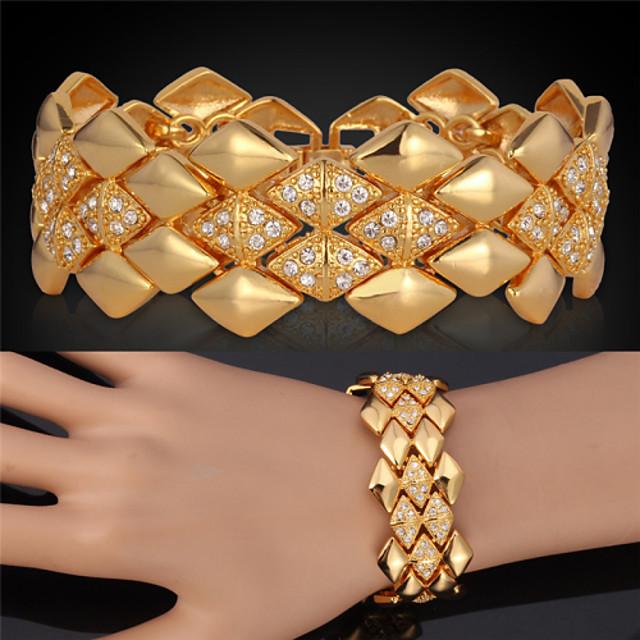 Pentru femei Cristal Brățări cu Lanț & Legături Brățări Bangle Bratari Vintage Multistratificat femei Lux Multistratificat Dubai Elizabeth Locke 18K Placat cu Aur Bijuterii brățară Auriu Pentru Nunt