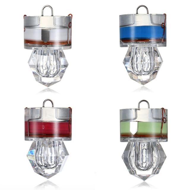 4pcs Lampe de Pêche LED Blanc Rouge Bleu Vert ABS Sous-marin Style diamant Pêche 200-500 m