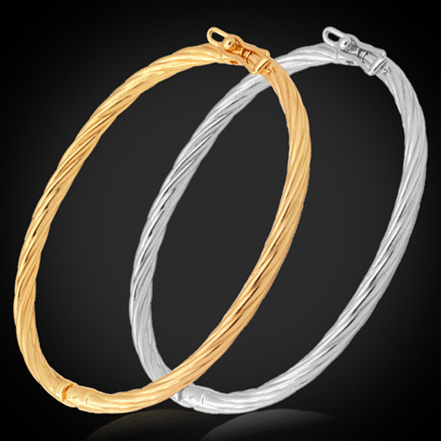 Pentru femei Brățări Bangle Răsucit femei Italiană Placat cu platină Bijuterii brățară Auriu / Argintiu Pentru Nuntă Petrecere Zilnic Casual Sport / Placat Auriu