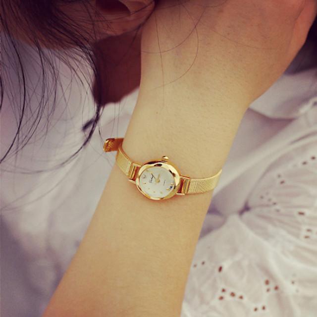 Damen Armband-Uhr Goldene Uhr Quartz Gitter damas Armbanduhren für den Alltag Analog Golden Silber