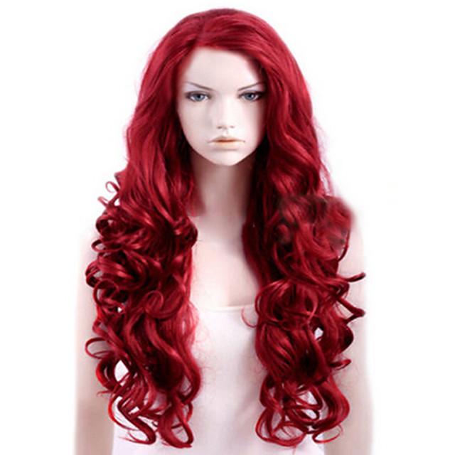 Parrucche sintetiche Riccio Parte laterale Parrucca Lungo Rosso Capelli sintetici Per donna Alta qualità Rosso