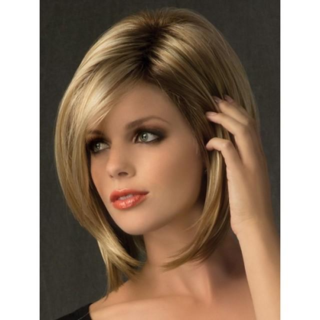 Synteettiset peruukit Suora Suora Otsatukalla Peruukki Vaaleahiuksisuus Lyhyt Synteettiset hiukset Naisten Tummat juuret Sivuosa Vaaleahiuksisuus StrongBeauty