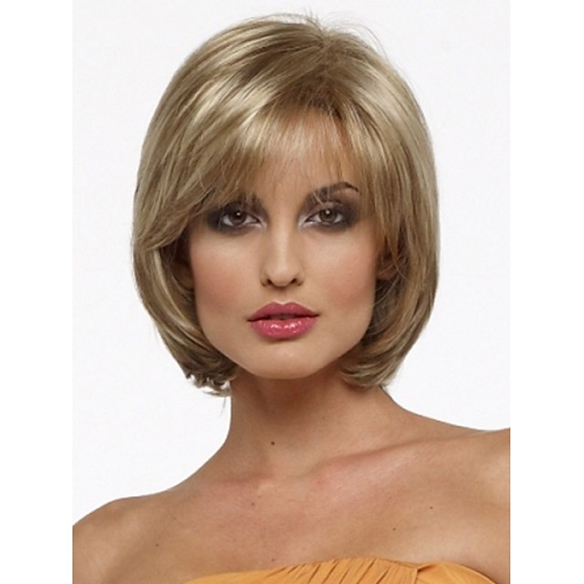 Synthetic Wig Straight Straight Bob With Bangs Wig Blonde Short Blonde Synthetic Hair Women's Side Part Blonde StrongBeauty