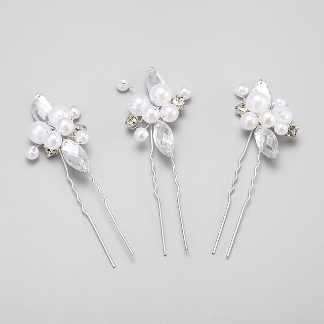 Imitation Pearl / Rhinestone / Alloy Headwear / Hair Pin with Floral 1pc Wedding / Special Occasion Headpiece