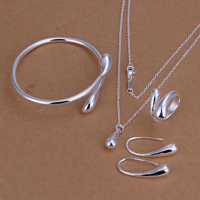 Kadın's Kübik Zirconia Takı Seti Gümüş Kaplama Damla Bayan, Moda Dahil etmek Bilezikler Damla Küpeler Kolye Gümüş Uyumluluk Düğün Günlük Ofis ve Kariyer