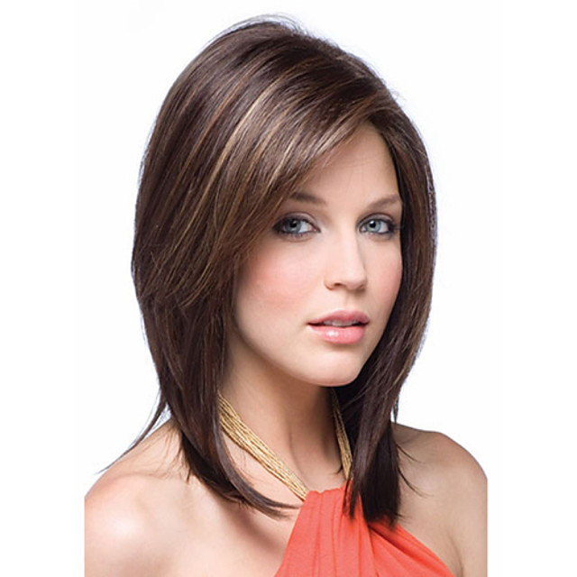 Synthetic Wig Straight Straight Wig Ombre Medium Length Rainbow Synthetic Hair Women's Ombre
