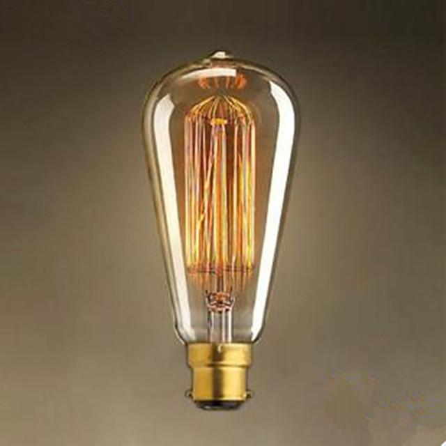 1ks 40 W / 60 W B22 ST64 Teplá bílá 2300 k Žárovka Vintage Edison žárovka 220-240 V / 220 V