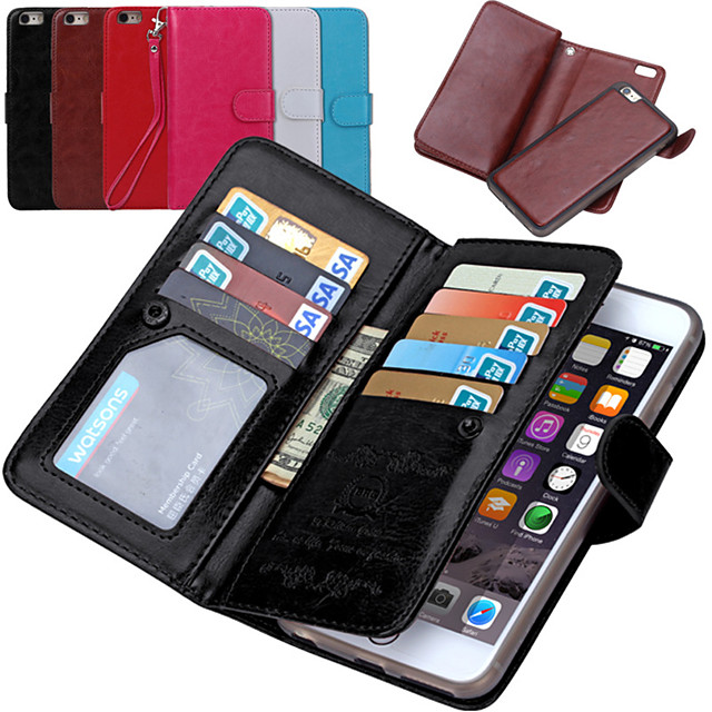 Кейс для Назначение Apple iPhone 8 Pluss / iPhone 8 / iPhone 7 Plus Кошелек / Бумажник для карт / Флип Чехол Однотонный Твердый Кожа PU