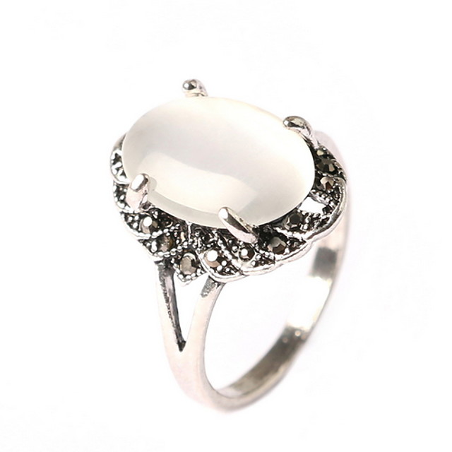 Statement Ring Opaal Wit Opaal  Legering / Dames / Voor heren