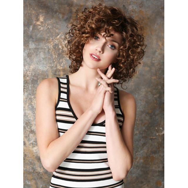 Parrucche sintetiche Riccio Kinky Curly Riccio Parrucca Corto Marrone Capelli sintetici Per donna Marrone
