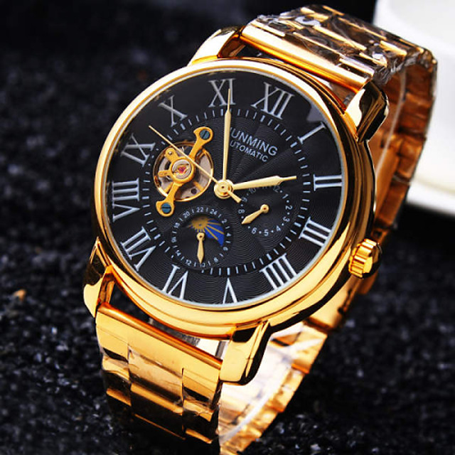 Hombre Reloj de Pulsera El reloj mecánico Cuerda Automática damas Resistente al Agua Analógico Blanco Negro / Acero Inoxidable / Acero Inoxidable / Huecograbado / Huecograbado
