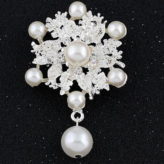 Pentru femei femei Lux Vintage Modă Diamante Artificiale Broșă Bijuterii Alb Pentru Nuntă Petrecere Ocazie specială Mascaradă Petrecere Logodnă Bal