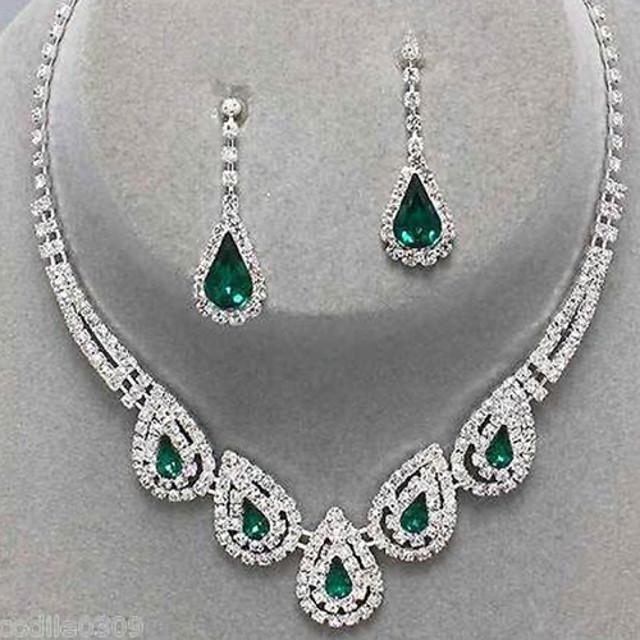 QA/_ EG/_ Girl Luxury Wedding Party Chain Necklace Ring Bracelet Earring Jewelry