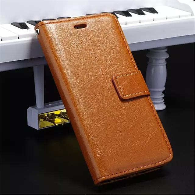 Кейс для Назначение iPhone 5 / Apple iPhone 8 Pluss / iPhone 8 / iPhone SE / 5s Кошелек / Бумажник для карт / со стендом Чехол Однотонный Твердый Кожа PU