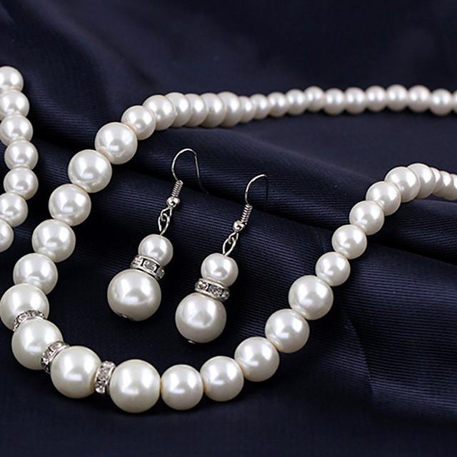 Pentru femei Perle Coliere cu Pandativ Κολιέ με Πέρλες femei European de Mireasă Perle Aliaj Argintiu Coliere Bijuterii 1 buc Pentru Nuntă