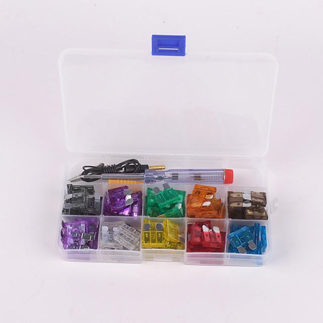 100pcs bil blad säkring kit 2a 3a 5a 7.5A 10a 15a 20a 25a 30a 35a med elektriska testare electroprobe spårskruvmejsel